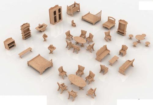 Muebles Para Casa De Muñecas Mdf Kit De Muebles Miniatura  $ 19000