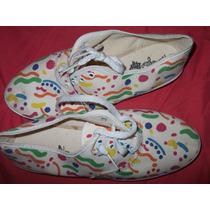 Tenis De Tela Algodón Estampada Multicolor,talla 3 Usa. $350