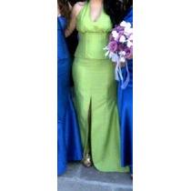 Vestido De Diseñador Tafera Verde Corset Y Falda Ajustable