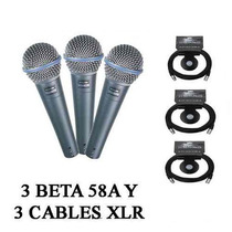Shure Beta 58a Combo 3 Micros 3 Cables Xlr Neutrik