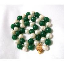 Collar Jade Imperial, Perlas, Oro 14k, Plata .925