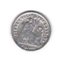 1 Quinto Ó 20 Centavos De Sol Plata 1875 Moneda Perú - Vbf