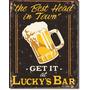 Poster Cartel Afiche Metal Vintage Bar Lucky's Bar Humor Ret