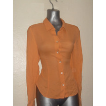 Blusa Orange 100% Seda T-6 Vv4