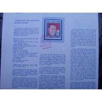 Hojilla Filatelica Diego Rivera,1986, 1er Dia Emision