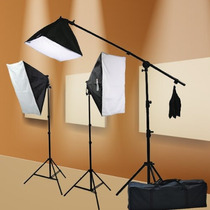 Kit Iluminación 3 Softbox Foto Y Video Boom Brazo 2400 Watts
