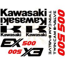 Kit Stickers Calcomanias Moto Kawasaki Ex500 Años 87 Al 93