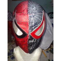 Mascara De Spiderman Rojo/negro P/niño. Hombre Araña.