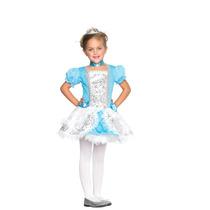 Princesa Cuento De Hadas Vestido Niña Azul Plata Disfraz Mmn