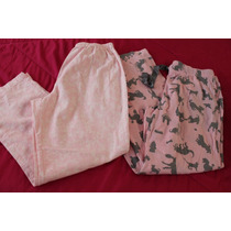 Nick & Nora Lote De 2 Pijama Pantalon Rosa Perros Talla L