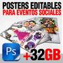 Photoshop Plantillas Editables Eventos Sociales, Mas De 32gb