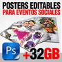 Photoshop Plantillas Editables Eventos Sociales, Mas De 32gb