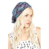 Hot Topic Gorro Turquoise Purple Grey Crochet Beret Boina
