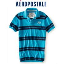 Si Envio Playera Xs Aeropostale Polo Hombre Nino Rayas Azul