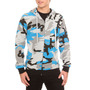 Hot Topic Sudadera Grey Blue Black Camouflage Zip Hoodie G