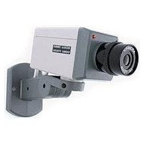 Camara Seguridad Falsa Con Detector Movimiento Luz Led Rojo
