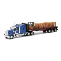 1:32 Camion Trailer Kenworth W900 Plataforma Y Montacargas