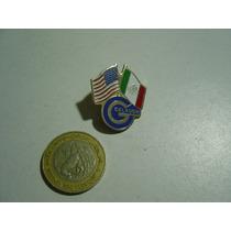 Vintage Pin Prendedor Banderas México Y Estados Unidos