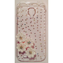 Funda Samsung Galaxy S4 I9500 Pedrería 3d Flores Blancas Jem