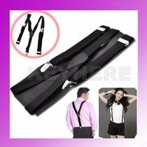 Tirantes Negros Para Pantalon Con Broches De Metal Modernos