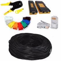 Mini Kit Cable Red Utp Cat 6 Pinzas Tester Plugs Botas Rj45