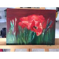 Pintura Al Oleo Amapolas,paisaje,flores,rusia,diseño