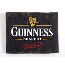 Cuadro Anuncio Letrero Cerveza Guinness Madera Bar Cantina