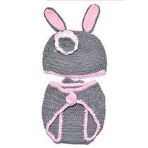 Alegr?a Beb? Conejo Gris Crochet Traje Foto Prop (0-6 Meses)