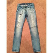 Jeans Stretch Con Agujeros Wanama Argentina, Desgastados