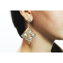 Arete Moda Largo Dorado Cuadro Piedras Y Cristales Ar310