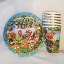 Plantas Vs Zombies Platos Y Vasos Para Fiesta