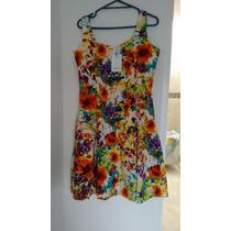 Vestido Flores De Algodón Talla M.
