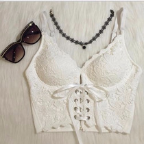 Crop Top Bustier Top Moda Push Up Encaje