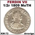 1/2 Real 1809 Moth   Ferdin Vii