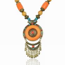 Collar Dona Naranja Metal Alrededor Madera Resina -3
