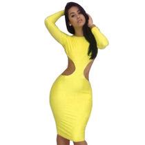 Vestido Fiesta Amarillo Con Mangas Escote Espalda Moda Sexy