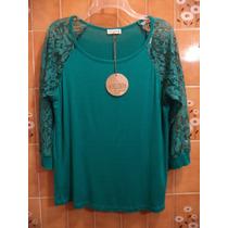 Blusa Verde Esmeralda Algodon/encaje Miss Cocoa L-36 Nueva