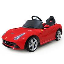 Carrito Batería Ferrari F12 Rojo Pila Luces Led Rojo Mp3