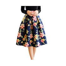 Falda Cintura Alta Vintage Flores Entrega Inmediata