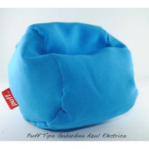 Sillón Puff Individual Tela Tipo Gabardina Azul Electrico