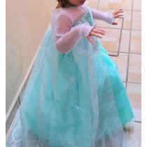 Vestido O Disfraz Elsa Frozen Tela De Lujo Tallas 1 A La 12