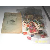 Coleccion Timbres Postales Del Mundo Y Cuaderno Antiguo Vv4