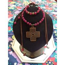Collar C/dije De Cruz Y Pulsera C/cristales Joyeria Fina