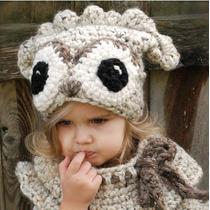 Gorro Y Cuello Niña Estambre Crochet Muñeco Importados Usa