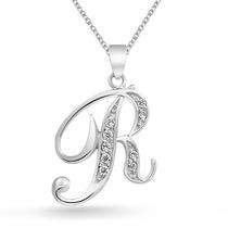 Bling Jewelry Plata Cz Cursivo Inicial R Alfabeto Collar