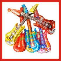10 Guitarras Inflables Con Luz Led Fiestas Bodas Xv Dj Globo