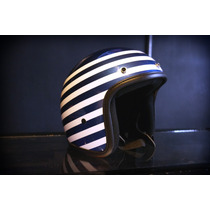 Casco Bobber Jet Marca Atop-head Modelo White Stripes