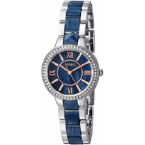 Fossil Virginia Stainless Steel And Blue Acetate Watch