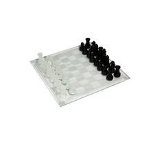 Ajedrez De Cristal, Piezas Blanco - Negro, Tablero De 21 Cm.