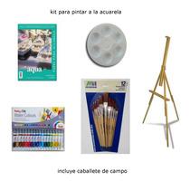 Kit Para Pintar A La Acuarela Incluye Caballete 5 Piezas